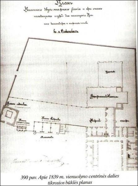 - Catholic church of Blessed Virgin Mary and the Monastery of Franciscan. plan, 1839