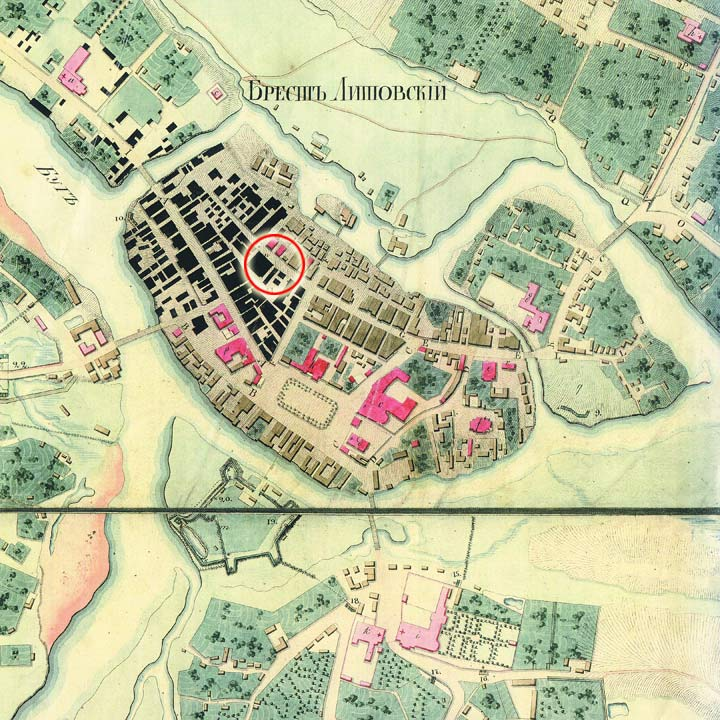 Location of the Great synagogue on the map of Brest, 1823 (from the archive of I. Łaŭroŭskaja)