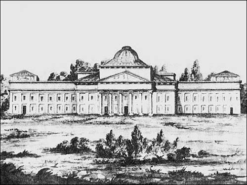 - Estate . Palace before its demolition. Drawing by M. Januszewicz form the end of XVIII cent.
